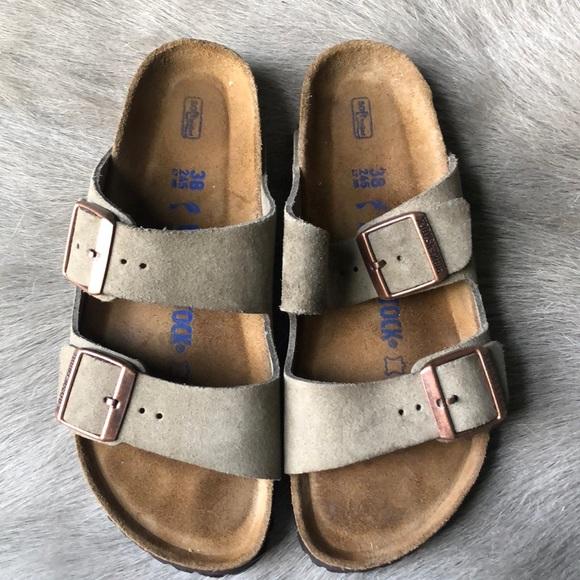 4ef8ee76701 Birkenstock Shoes - Birkenstock Arizona taupe suede sandals 38 Narrow